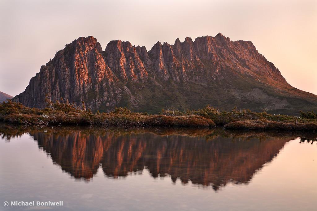 Cradle Mountain Tarn Sunset, Tasmania, Australia