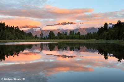 Lake Matheson Sunset, West Coast, South Island, New Zealand