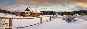 Craigs Hut Winter Dawn, Mt Stirling, Victoria, Australia