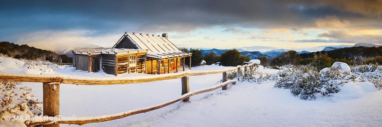 Craigs Hut Winter Sunrise, Mt Stirling, Victoria, Australia