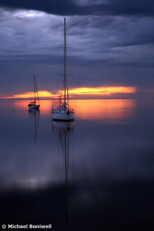 Boats at Dawn, Geelong, Victoria, Australia