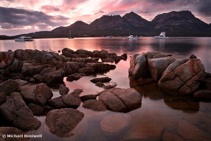 Dawn over The Hazards, Coles Bay, Tasmania, Australia
