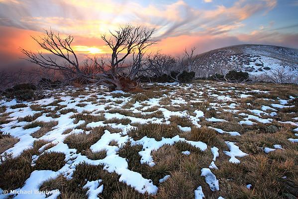 Mt Hotham Early Winter Sunset, Victoria, Australia