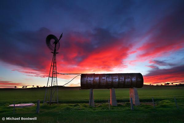 Windmill Sunrise, Central Victoria, Australia