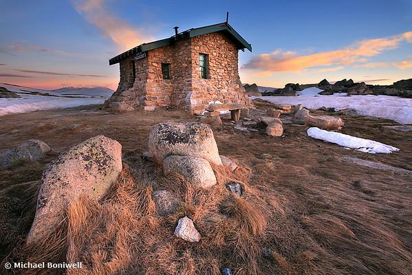 Dawn Breaks over Seamans Hut, Mt Kosciuszko, New South Wales, Australia