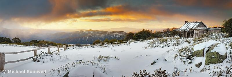 Craigs Hut Winter Sunset, Mt Stirling, Victoria, Australia
