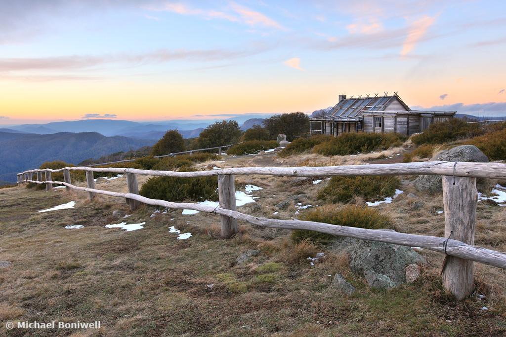 Craigs Hut Winter Evening, Mt Stirling, Victoria, Australia