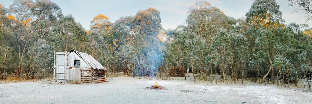 Frosty Moroka Hut, Alpine National Park, Victoria, Australia