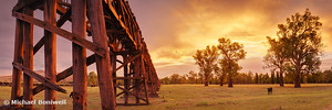 Gundagai Railway Bridge Sunset, New South Wales, Australia