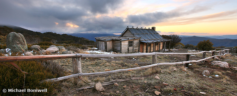 Craigs Hut Winter Evening, Mt Stirling, Victoria, Australia
