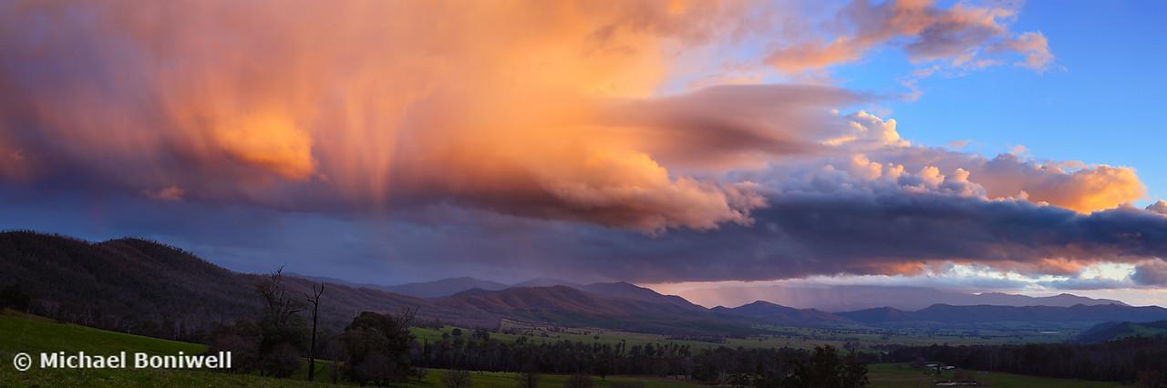 Stormy Sunset over Happy Valley, Myrtleford, Victoria, Australia
