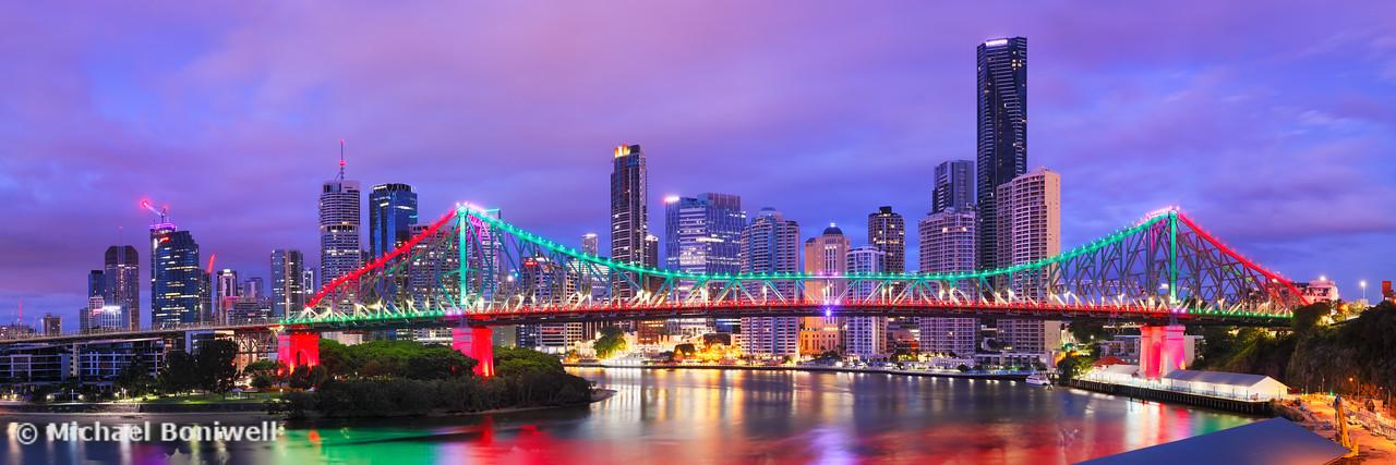 Colourful Story Bridge, Brisbane, Queensland, Australia