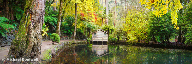 Boathouse in Autumn, Alfred Nicholas Gardens, Melbourne, Victoria, Australia